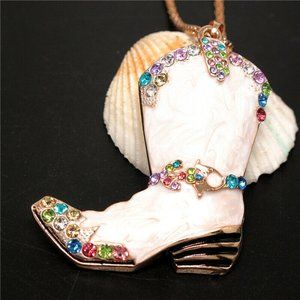 Necklace- NEW- Betsey Johnson Country Cowboy Boot